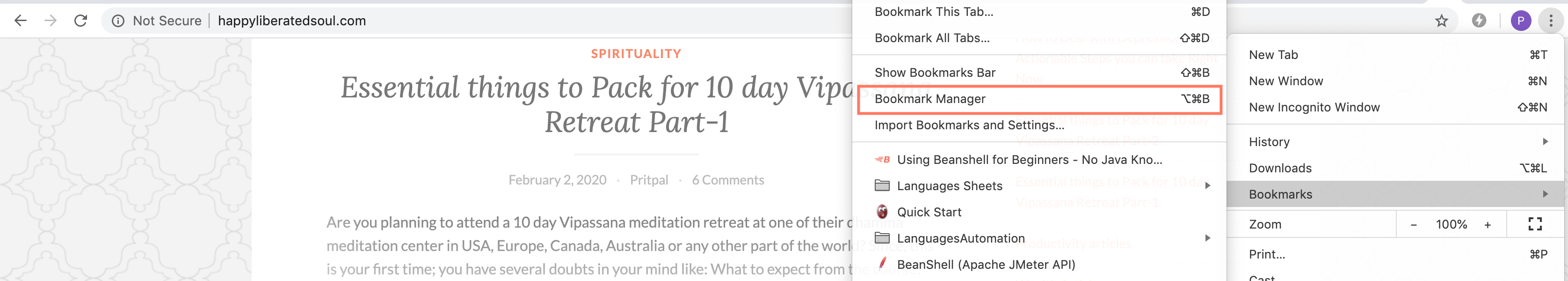 Step 3 of How to open Bookmark manager in chrome