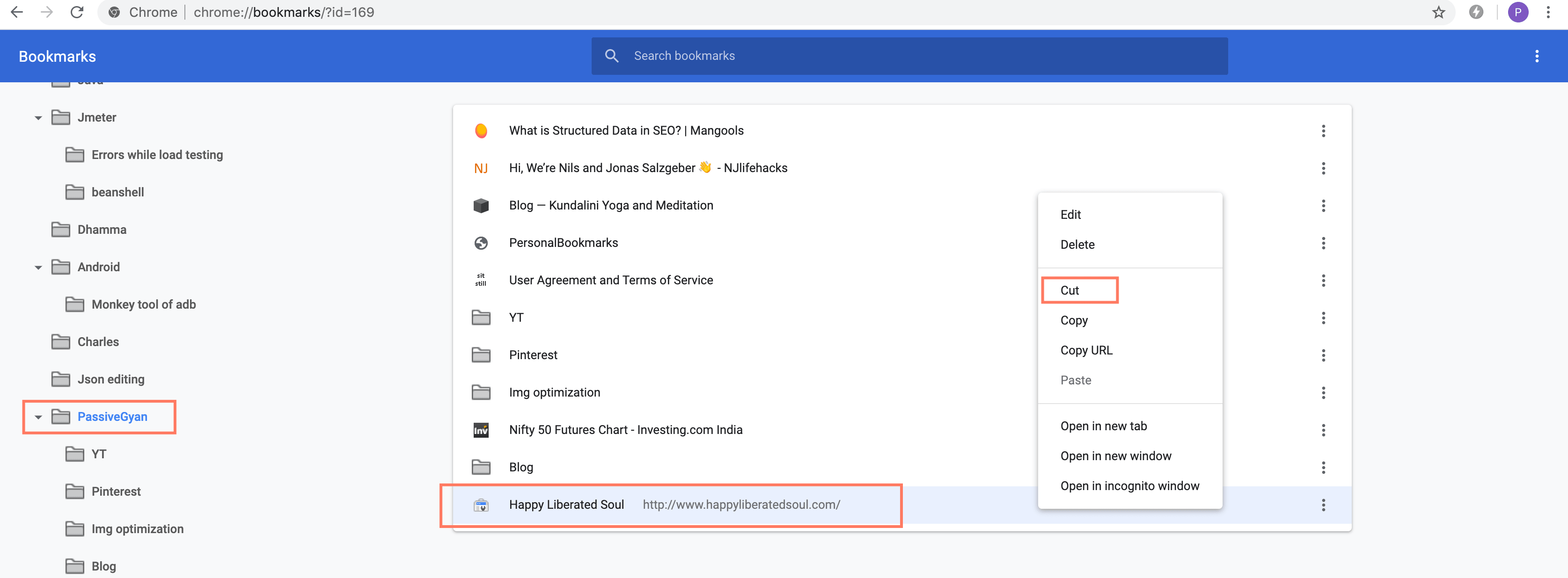Move or cut bookmarks using bookmark manager