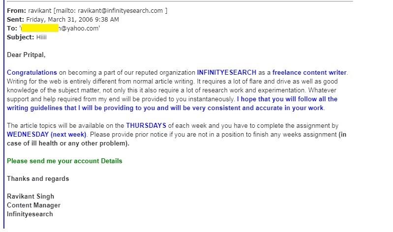 Pritpal's first Job Offer Letter